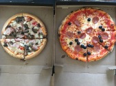 GF pizza (left), regular pizza (right)