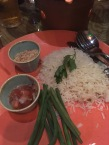 Rice, salsa, coconut and green beans