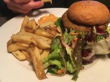 chickpea and veggie haggis burger