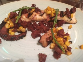 Squid, chorizo and corn salad
